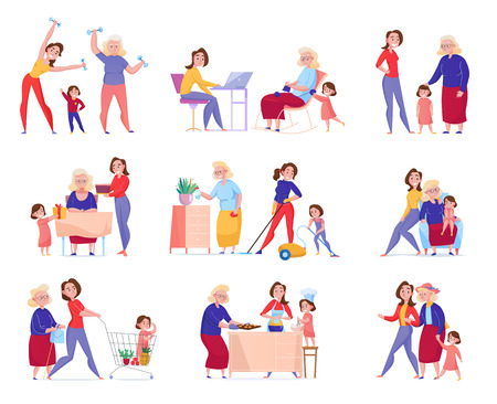 Flat isolated women generation grandma mother daughter icon set with family in the moments vector illustration Standard-Bild - 123522991