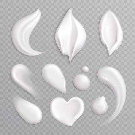 Icône réaliste de frottis de crème cosmétique sertie d'éléments isolés blancs différentes formes et tailles illustration vectorielle