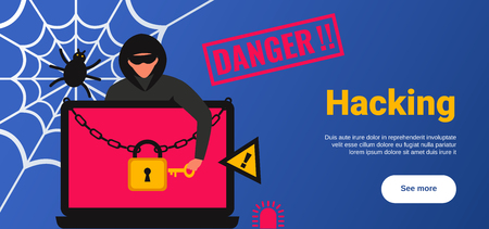 Hacker Attack poster with personal data security symbols flat vector illustration