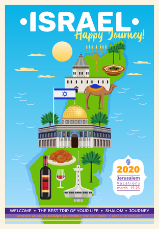 Israel travel poster with map and sights symbols flat vector illustration