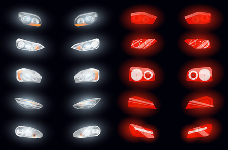 Set of ten realistic auto headlights and ten glowing brake lights isolated images on dark background vector illustration