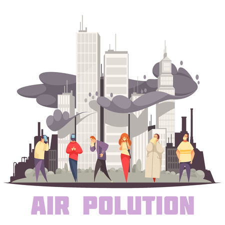 Air pollution design concept with people at city skyscrapers shrouded in smog of industrial emissions vector illustration 일러스트