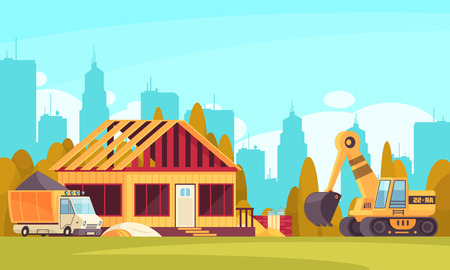 Construction horizontal background with truck of concrete and excavator near unfinished cottage flat vector illustration