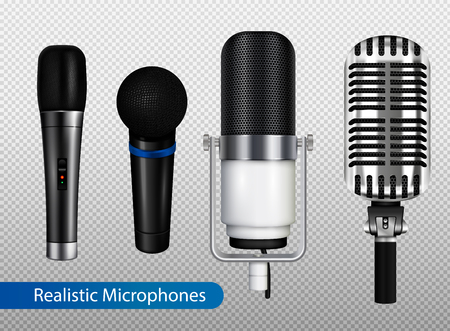 Music studio equipment transparent set with different kinds of professional microphones in realistic style vector illustration Illusztráció