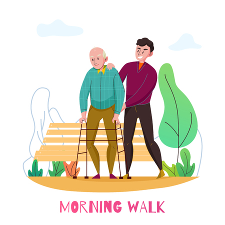Nursery home daily elderly assistance flat composition with disabled old man morning walk with volunteer vector illustration Illustration