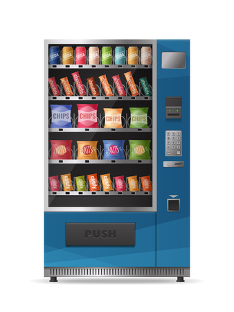 Colored realistic design of snacks vending machine with electronic control panel isolated on white background vector illustration