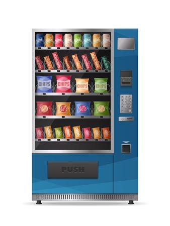 Gekleurd realistisch ontwerp van snacksautomaat met elektronisch controlebord dat op witte vectorillustratie wordt geïsoleerd als achtergrond
