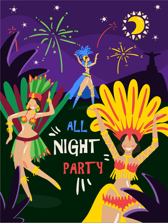 Brazil carnival annual celebration night party invitation with dancing women in colorful bikini feathers costumes vector illustration Vector Illustration