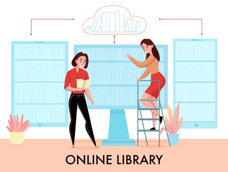 Online library flat symbolic composition with women searching book in desktop monitor smartphone tablet virtual bookshelves vector illustration
