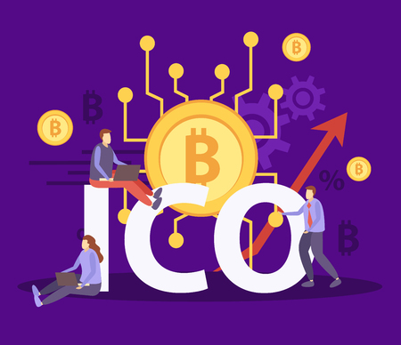 Initial coin currency offering flat colorful composition with ico bitcoin blockchain crypto community fundraising symbols vector illustration
