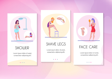 Feminine hygiene info cards flat banners set with face care legs shaving and shower tips vector illustration