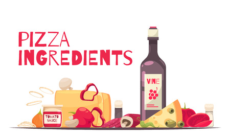 Colored and flat pizza composition with pizza ingredients headline and bottle of wine vector illustration  イラスト・ベクター素材