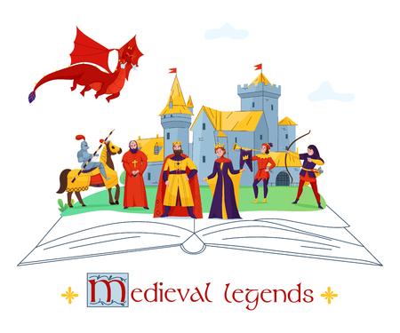 Leggende medievali storie racconti concetto composizione piatta colorata con personaggi del regno del castello su illustrazione vettoriale del libro aperto Vettoriali