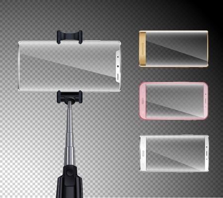 Last generation all screen smartphones realistic set with selfie stick holder colorful bezels transparent background vector illustration