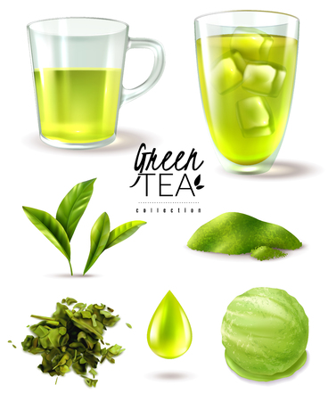 Realistic green tea iced set with isolated images of ripe leaves cups and ice cream scoop vector illustration