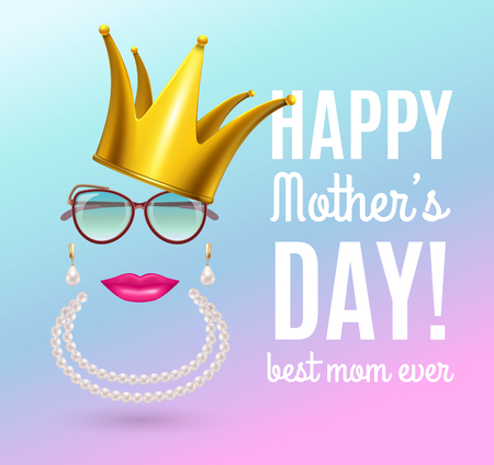 Mothers day composition with gradient background and ornate text with stickers of crown jewelry and glasses vector illustration