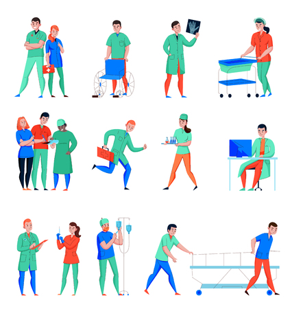 Hospital nurse doctor surgeon medical lab assistant emergency intensive care personnel flat characters set isolated vector illustration