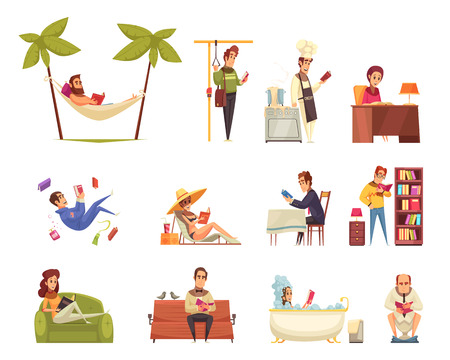 People reading books set with with library and beach reading symbols flat isolated vector illustration