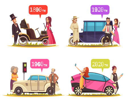 Human characters and ground transportation from ancient time till today cartoon design concept isolated vector illustration