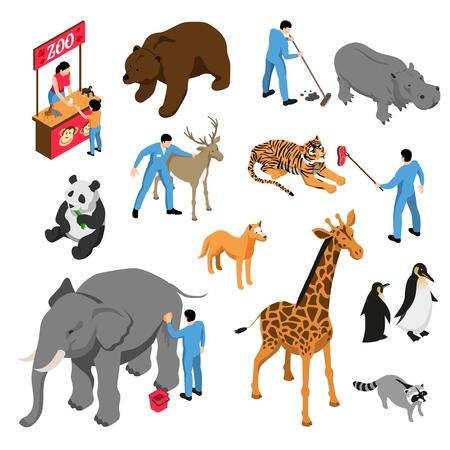 Izometryczny zestaw różnych zwierząt i pracowników zoo podczas działalności zawodowej na białym tle ilustracji wektorowych