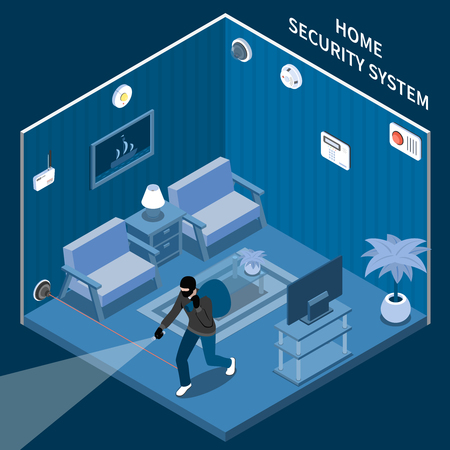 Home security isometric composition with thief in room equipped with laser alarm system and different sensors vector illustration Stock Illustratie