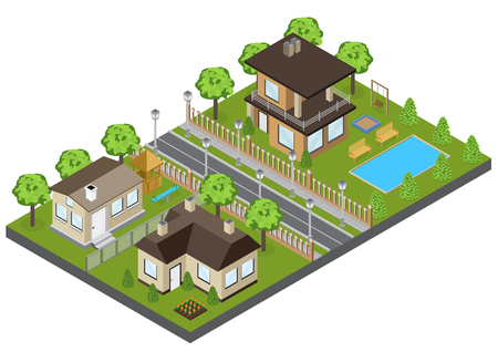 Suburbia area buildings with town houses and cottages isometric vector illustration