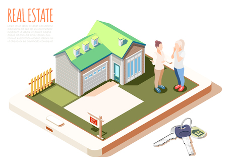 Real estate augmented reality isometric composition with cute cozy house with green roof vector illustration