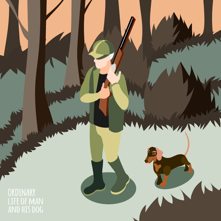 Ordinary life of man and his dog isometric background man on hunt with his dog vector illustration