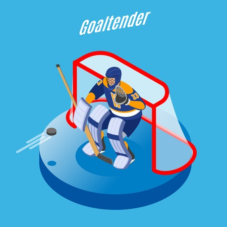 Ice hockey goaltender in full equipment protecting goal with stick round isometric composition blue background vector illustration