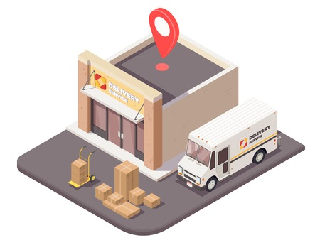 Delivery logistics shipment isometric composition with outdoor view of logistic company office building parcels and car vector illustration