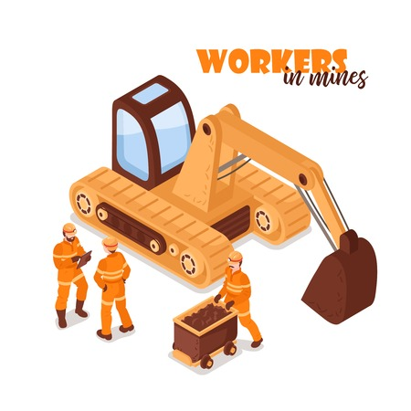 Mine isometric background with image of yellow excavator and miner characters in uniform on blank background vector illustration Иллюстрация