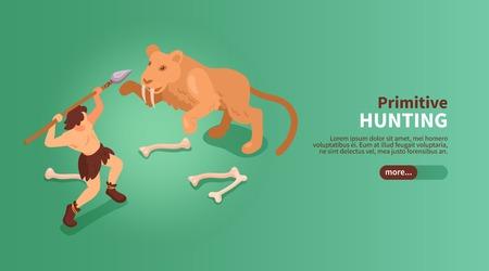 Banner di cavernicolo di persone primitive isometriche con immagini di pulsanti di scorrimento del testo di illustrazione vettoriale di tigre dai denti a sciabola e umana