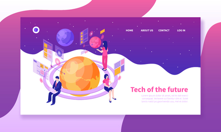 Isometric horizontal banner with people using future technologies on colorful background 3d vector illustration Ilustração