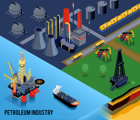 Isometric oil industry composition with petroleum industry headline and landscape of the city vector illustration Illustration