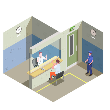 Jail isometric composition with non contact telephone visitation glass partition and watching prison security guard vector illustration