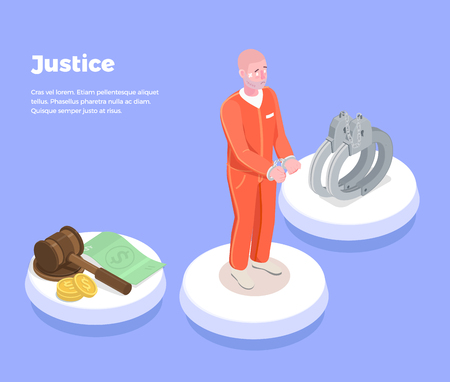 Law justice isometric background with icons judge symbols wristbands highly litigious prisoner and editable text description vector illustration