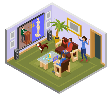 Auction isometric composition with man on the couch at home watch auction online vector illustration Stock Illustratie