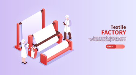 Isometric horizontal banner with textile factory workers and equipment 3d vector illustration