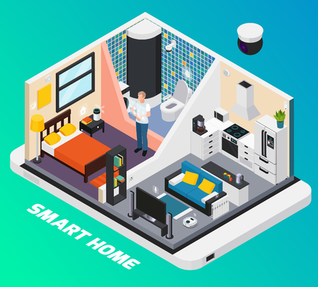 Smart home interior isometric design with light system stove tv controlled with wearable mobile devices vector illustration