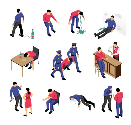 Alcoholism and narcotics isometric set with drunk and drugged men in various situations isolated vector illustration Illustration