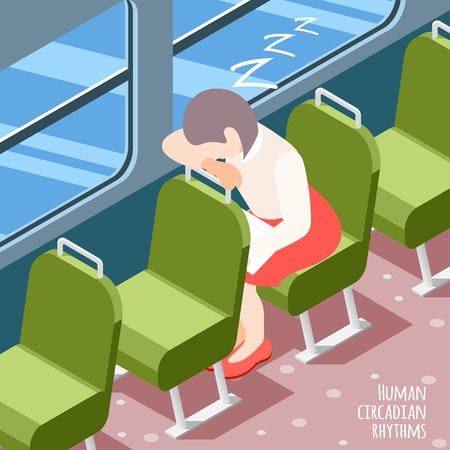Human circadian rhythms isometric colored background with woman sleeping in public transport vector illustration
