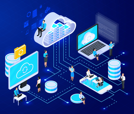 Cloud services isometrische compositie met grote iconen van cloud computing-infrastructuurelementen verbonden met stippellijnen vectorillustratie