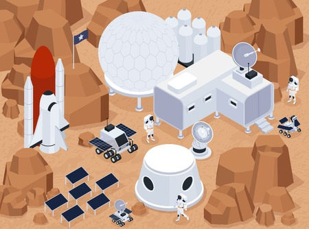 Space exploration isometric composition with view of extraterrestrial terrain and base with buildings and solar batteries vector illustration