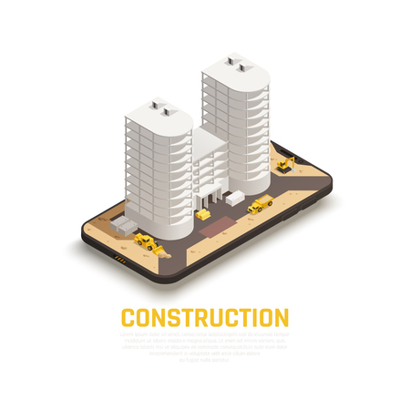 Colored isolated and isometric construction composition with construction of building and tractors work vector illustration Archivio Fotografico - 123200294