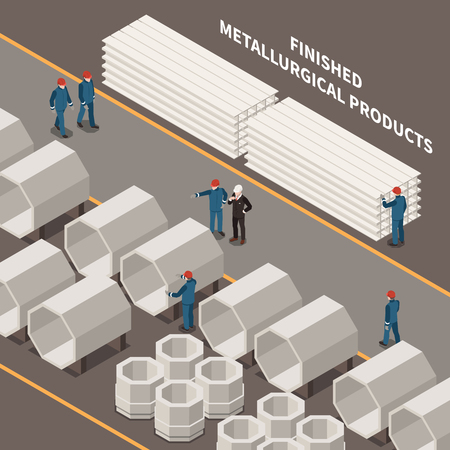 Metal industry isometric composition with workers and metallurgical products 3d vector illustration Фото со стока - 121310523