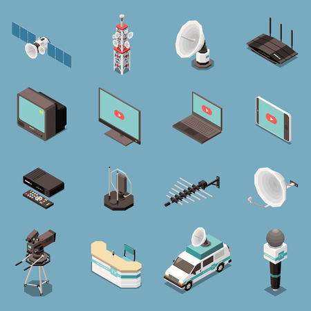 Isometric set of icons with various telecommunication equipment and devices isolated on blue background 3d vector illustration