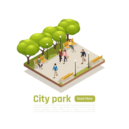 City isometric concept with city park headline read more button and walking peoples vector illustration Ilustracja