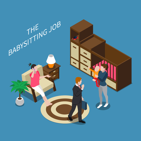 Isometric composition with parents leaving their child with babysitter 3d vector illustration
