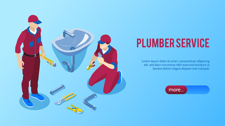 Professional plumber service online horizontal isometric web page banner with two repairmen fixing bathroom sink vector illustration Illustration