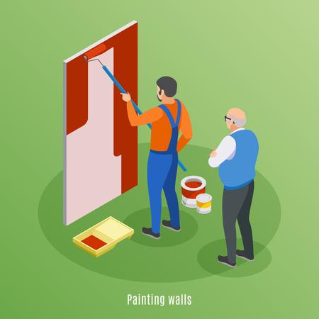 Concept de conception isométrique de réparation à domicile avec mur de peinture d'artisan et client âgé supervisant l'illustration vectorielle de travail Vecteurs